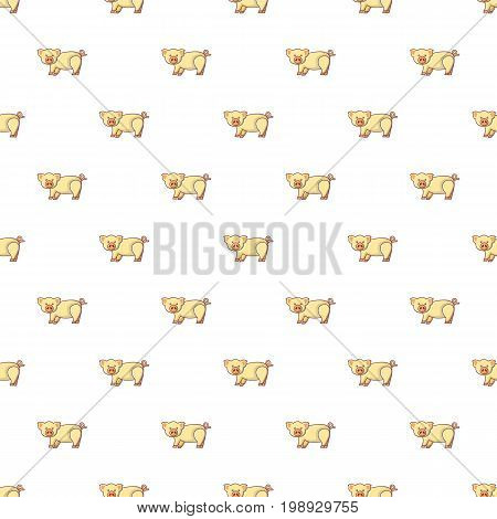 Cute pig pattern in cartoon style. Seamless pattern vector illustration