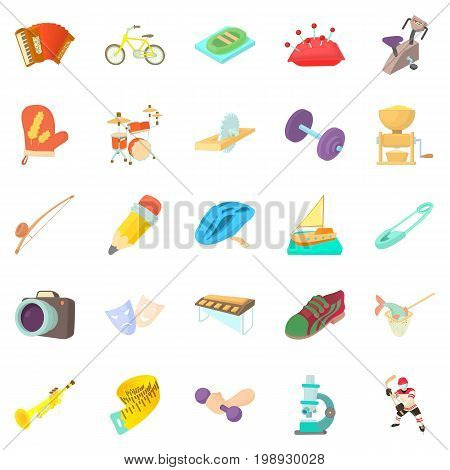 Outside interest icons set. Cartoon set of 25 outside interest vector icons for web isolated on white background