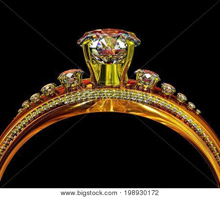 Engagement gold ring with gem. Cropped shot of luxury jewellery big and small diamond bijouterie with big gemstone for people in love . Frontal view on black background. 3D rendering.