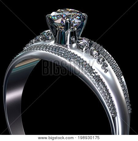 White gold engagement ring with diamond gem. Luxury jewellery bijouterie from silver or platinum with gemstone. Upper part of finger ring on black background. 3D rendering