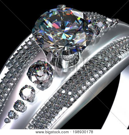 White gold engagement ring with gem with diamond cut. Luxury jewellery bijouterie from silver or platinum with gemstone. Top view finger ring with shining big diamond on black background. 3D rendering