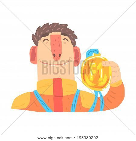 Car racing driver man in an orange uniform holding golden medal, racing participant vector Illustration isolated on a white background