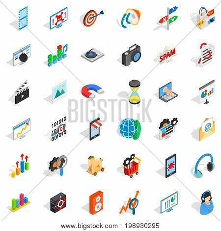 Web progress icons set. Isometric style of 36 web progress vector icons for web isolated on white background
