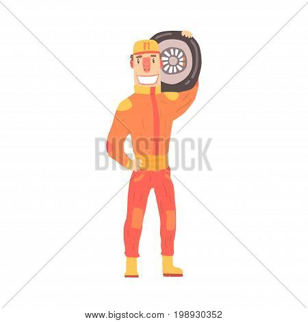 Pit stop technician worker in an orange uniform holding car wheel, member of racing team vector Illustration isolated on a white background