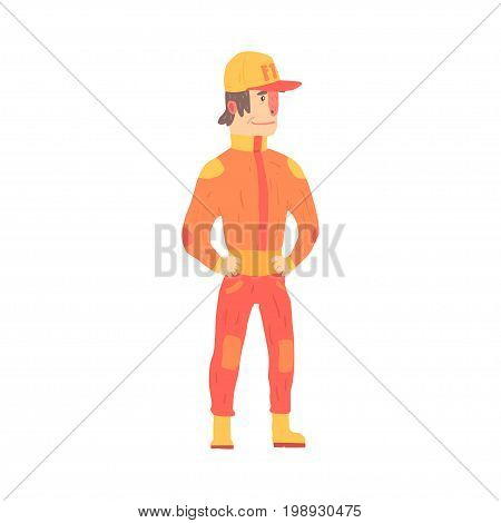 Car racing driver man in an orange uniform, member of racing team vector Illustration isolated on a white background