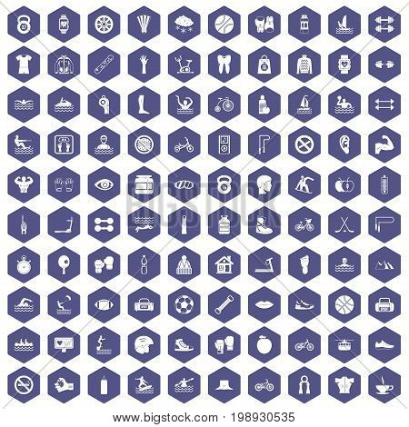 100 men health icons set in purple hexagon isolated vector illustration
