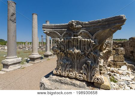 Ancient ruins of Perge. Detail of marble columns - Corinthian order. Turkey