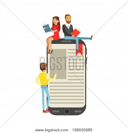 Micro young women and men sitting on a giant electronic book, people enjoy reading vector Illustration isolated on a white background