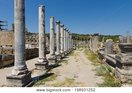 Ancient ruins of Perge. Anatolian coast. Agora. Turkey.