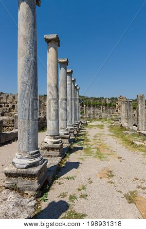 Ancient ruins of Perge. Anatolian coast. Agora.Turkey.