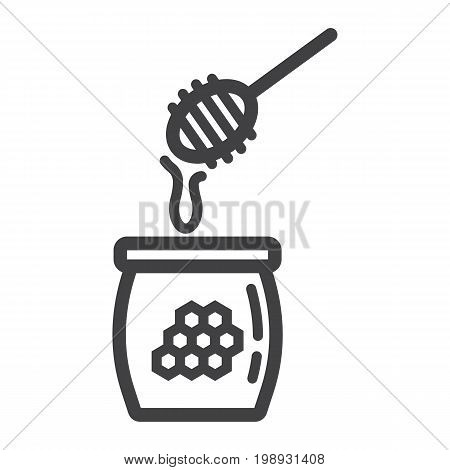 Honey ladle line icon, food and drink, beehive sign vector graphics, a linear pattern on a white background, eps 10.
