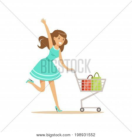 Happy woman in a blue dress running with shopping cart, shopping in grocery store, supermarket or retail shop, colorful character vector Illustration isolated on a white background