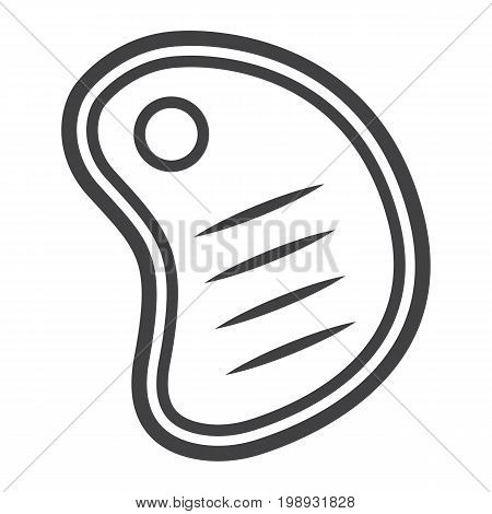 T bone beef steak line icon, food and drink, barbecue sign vector graphics, a linear pattern on a white background, eps 10.