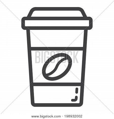 Coffee line icon, food and drink, cappuccino sign vector graphics, a linear pattern on a white background, eps 10.