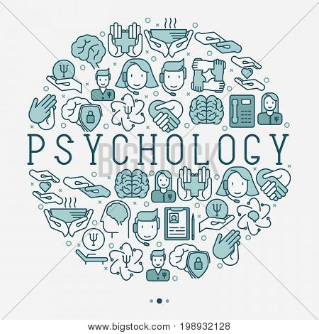 Psychological help concept in circle with thin line icons. Vector illustration for web page, banner, print media.