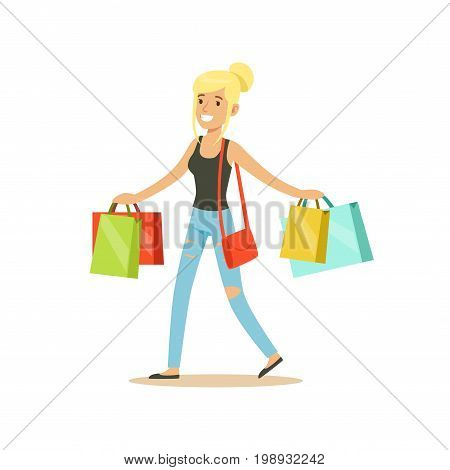 Happy blonde woman in a casual clothes walking with shopping bags colorful character vector Illustration isolated on a white background