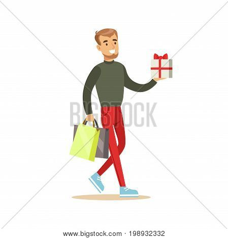 Elegant young handsome man with gift box and shopping bags colorful character vector Illustration isolated on a white background