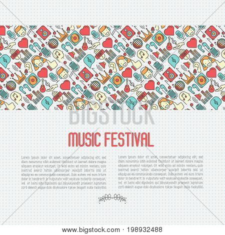 Music festival concept with thin line icons DJ in headphones, vinyl player, disco ball, microphone, tickets. Vector illustration for banner, web page, flyer.