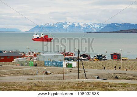 LONGYEARBYEN, NORWAY - SEPTEMBER 01, 2011: View to the harbor of Longyearbyen, Norway.