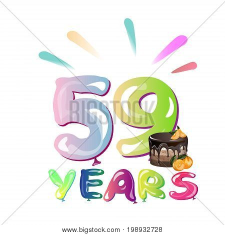 59th Years Anniversary card with cake. Vector illustration