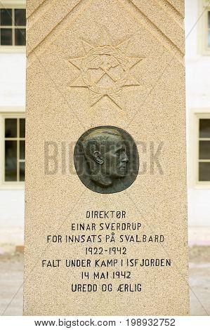 LONGYEARBYEN, NORWAY - SEPTEMBER 01, 2011: Exterior of the memorial to Einar Sverdrup in Longyearbyen, Norway.