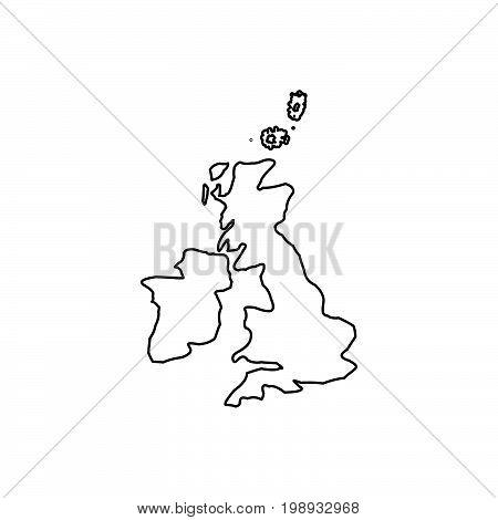 Map Of United Kingdom Black Color Icon .