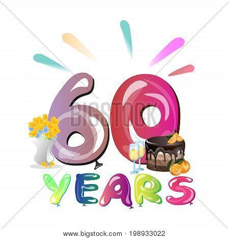 60 years anniversary invitation card vector illustration