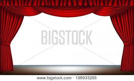 Stage with red curtain and empty white background.