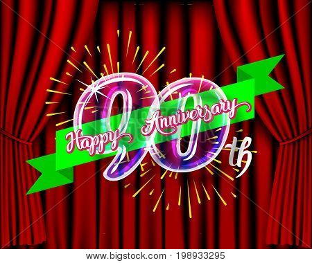 Happy 90 th anniversary. Glass bulb number with ribbon and party decoration on the colorful background