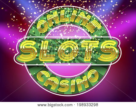 Online casino slots lettering. Gold Alphabet Vector Font. Letters on the gold money fall and lightspot background