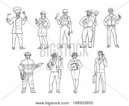 People of various professions in overalls and with tools in hand. Vector black and white sketch of a realistic illustration. Women and men working in different sectors of production and services