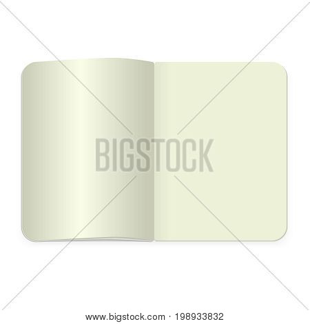Vector realistic blank magazine or book spread on white background. Top view notepad template.