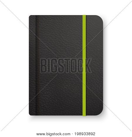 Realistic black notebook with green elastic band. Vector notepad mockup. Top view diary vintage template.