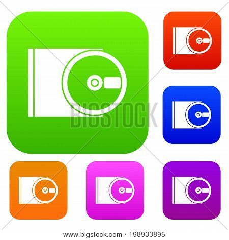 DVD drive open set icon in different colors isolated vector illustration. Premium collection