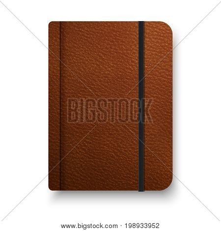 Realistic brown notebook with black elastic band. Vector notepad mockup. Top view diary vintage template.