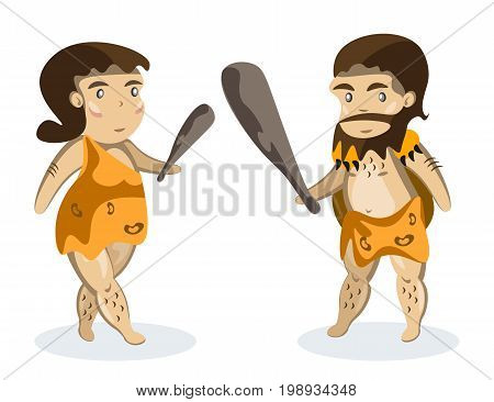 Ancient people on white background. Cartoon vector illustration