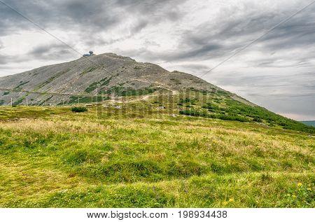 Mountain Snezka On Summer Cloudy Day