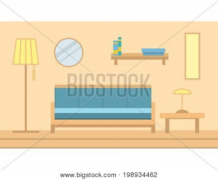 Interior of the state muddy room with furniture. Indoors there are a sofa, the lamp, a table, the mirror and the book shelf hangs on a wall there is a floor lamp. Wooden floor. flat style a vector.