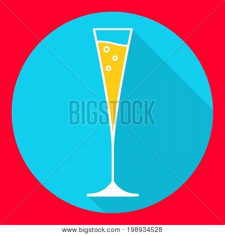 Icon with a glass of champagne in flat style a vector. Alcoholic drink.Champagne flute