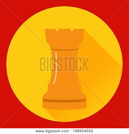 Icon of a chess figure the rook in flat style a vector. A design concept for a logo or an element of the website. A figure from board game.Element of design of infographics