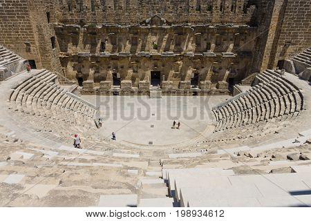 The Roman ancient theater in Aspendos. The province of Antalya. Mediterranean coast of Turkey.