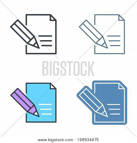 The document with pen outline icon set. Office supply line symbols. The signing contract linear pictograms. Vector thin contour infographic elements. Illustrations for web, presentations, networks.
