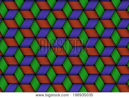Vector seamless pattern of colored weaved fiber