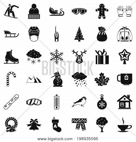 Cold winter icons set. Simple style of 36 cold winter vector icons for web isolated on white background