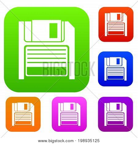 Magnetic diskette set icon in different colors isolated vector illustration. Premium collection