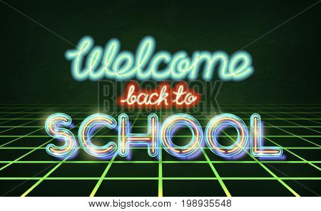 Welcome back to school - retro neon lettering. Stock typography