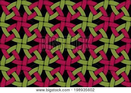 Seamless decorative pattern of colored intersected fiber. Vector Illustration