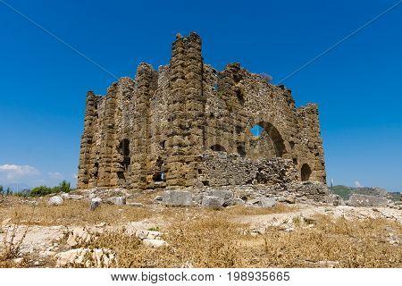 Ancient ruins of Aspendos. Basilica. Anatolian coast. Turkey.