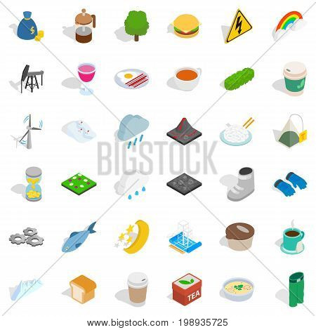 Winter frost icons set. Isometric style of 36 winter frost vector icons for web isolated on white background