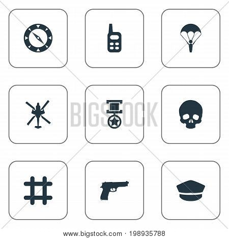 Elements Poison, Compass, Hat And Other Synonyms Award, Radio And Cap.  Vector Illustration Set Of Simple Combat Icons.